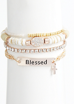 4-Pack Rose Gold Beaded Blessed Bracelet Set
