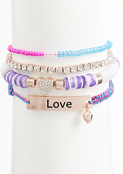 4-Pack Rose Gold Beaded Love Bracelet Set