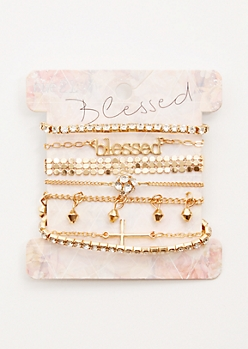 7-Pack Gold Blessed Bracelet Set