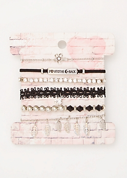 6-Pack Silver To The Moon Lace Bracelet Set
