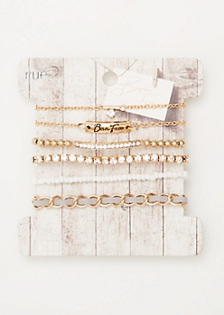 6-Pack Gold Born Free Rhinestone Bracelet Set