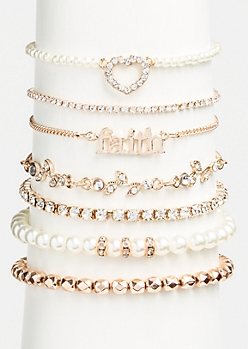 7-Pack Rose Gold Faith Bracelet Set