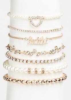 7-Pack Rose Gold Faith Bracelet Set