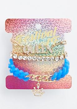 3-Pack Royal Blue Queen Bracelet Set
