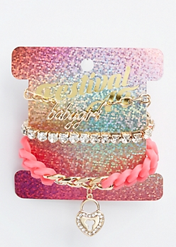 3-Pack Pink Baby Girl Bracelet Set