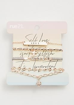 5-Pack Rose Gold Self Love Bracelet Set