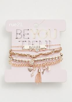 5-Pack Rose Gold Blessed Charm Bracelet Set