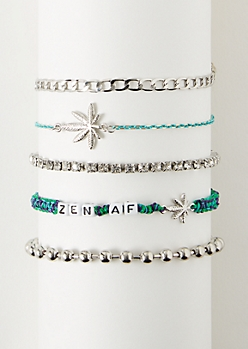 5-Pack Silver Wrap Weed Leaf Bracelet Set
