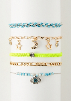 5-Pack Neon Mixed Metal Hemp Bracelet Set