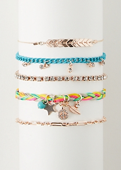 5-Pack Rose Gold Rainbow Braided Bracelet Set