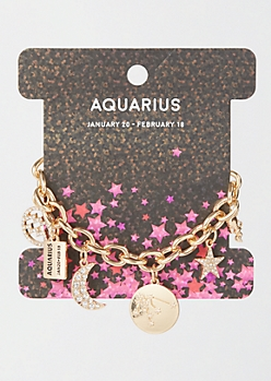 Gold Aquarius Charm Bracelet