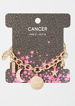 Gold Cancer Charm Bracelet