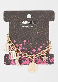 Gold Gemini Charm Bracelet