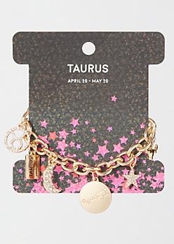 Gold Taurus Charm Bracelet