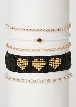 5-Pack Gold Heart Beaded Bracelet Set