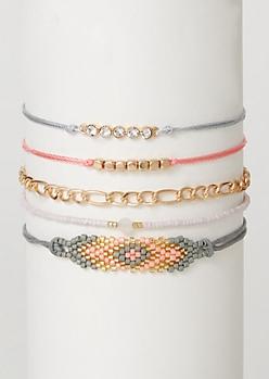 5-Pack Gold Beaded Bracelet Set