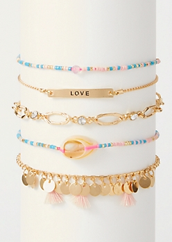 5-Pack Puka Tassel Bracelet Set