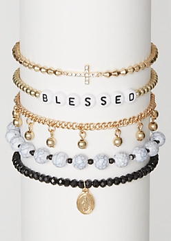 5-Pack Gold Blessed Friendship Bracelet Set