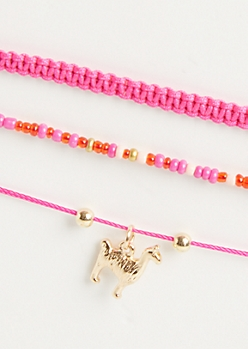 3-Pack Pink Llama Spirit Animal Bracelet Set