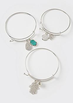 3-Pack Silver Elephant Bangle Bracelet Set