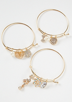3-Pack Gold Bow Pearl Bangle Bracelet Set