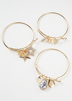3-Pack Gold Star Heart Bangle Bracelet Set