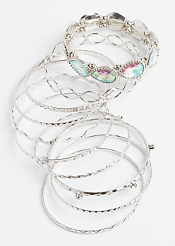 10-Pack Silver Rhinestone Stretch Bangle Set