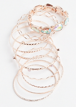 Rose Gold Rhinestone Stretch Bangle Set