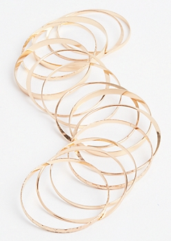 Gold Hammered Bangle Set