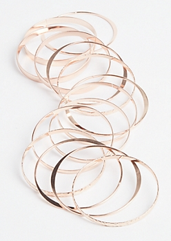 Rose Gold Hammered Bangle Set