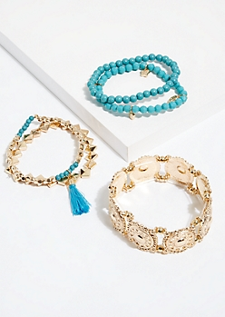 5-Pack Turquoise Bead Stretch Bracelet Set