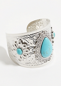Silver Floral Embossed Cuff Bracelet