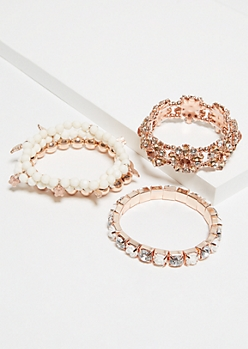 5-Pack Rose Gold and White Stretch Bracelet Set