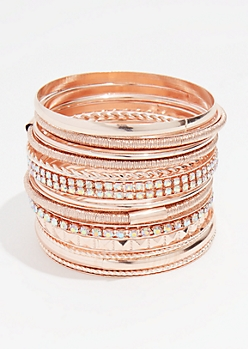 13-Pack Rose Gold Bangle Bracelet Set