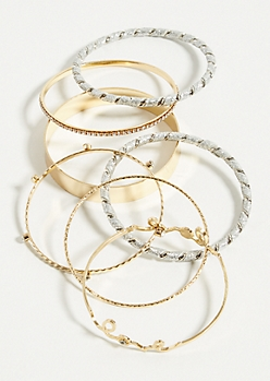 7-Pack Gold Love Rhinestone Bangle Set