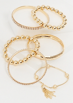 6-Pack Gold Rhinestone and Tassel Stretch Bangle Set