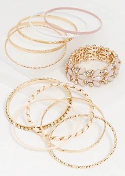 11-Pack Gold Floral and Pink Bangle Set