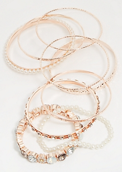 9-Pack Rose Gold Faux Pearl Bangle Set