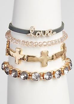 4-Pack Gold Love Charm Bead Bracelet Set