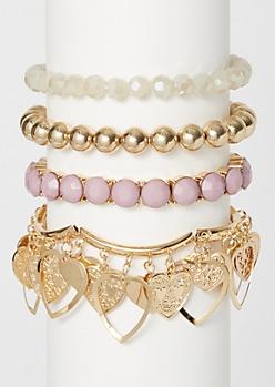4-Pack Gold Dangly Heart Bracelet