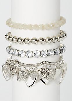 4-Pack Silver Dangly Heart Bracelet