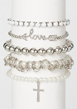 5-Pack Silver Love Pearl Bracelet Set