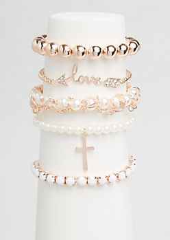 5-Pack Rose Gold Love Pearl Bracelet Set