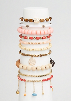 10-Pack Boho Wood Bead Bracelet Set