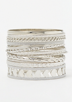 15-Pack Silver Heart Twist Bangle Set