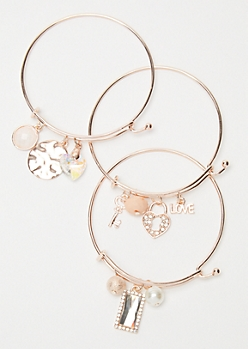 3-Pack Rose Gold Pearl Heart Charm Bangles