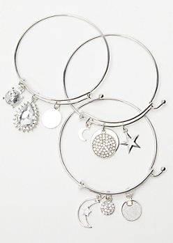 3-Pack Silver Star Moon Charm Bangles