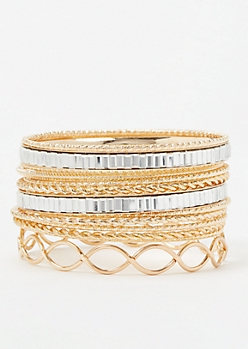 15-Pack Gold Stone Twist Bangle Set