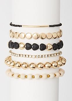 6-Pack Gold Heart Wood Bead Bracelet Set