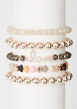 5-Pack Multi Star Love Bracelet Set